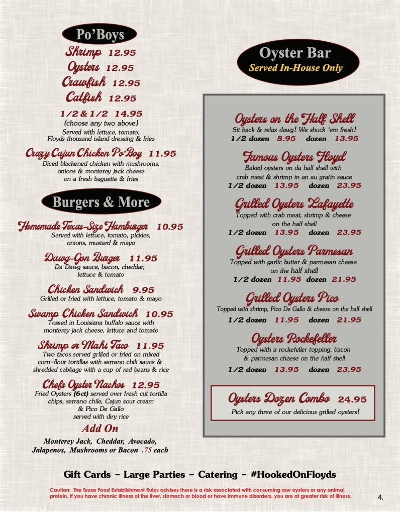 Floyds Seafood Menu Page 4 includes Po' Boy Sandwiches, Burgers, and Oyster Bar options.