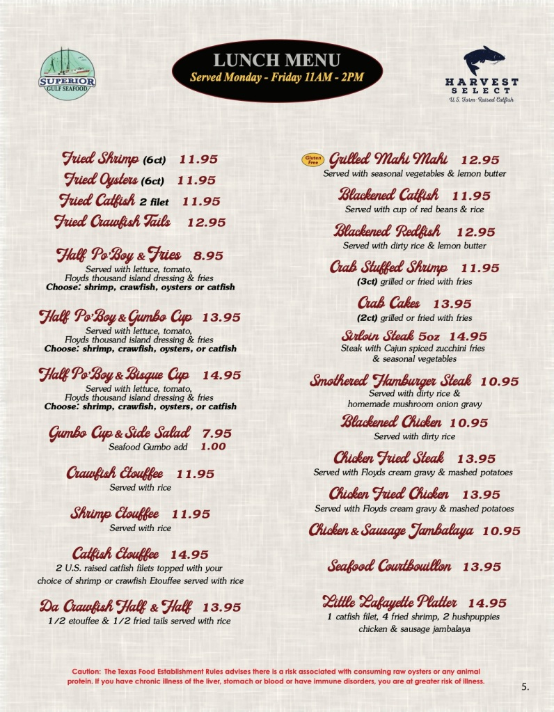 Floyds Seafood Menu Page 5 includes Floyds Seafood Lunch Menu, served Monday through Friday 11am - 2pm.