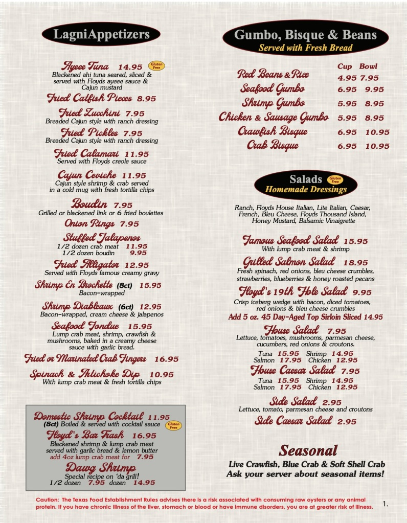Floyds Seafood Menu Page 1 includes appetizers, Gumbo, Bisque, Beans, Salads and Seasonal offerings.